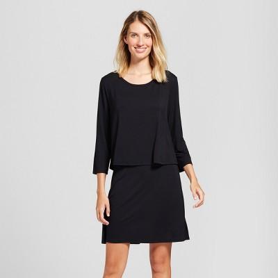 Maternity Nursing Double Layer Nightgown - Gilligan & O'Malley™ Black XL