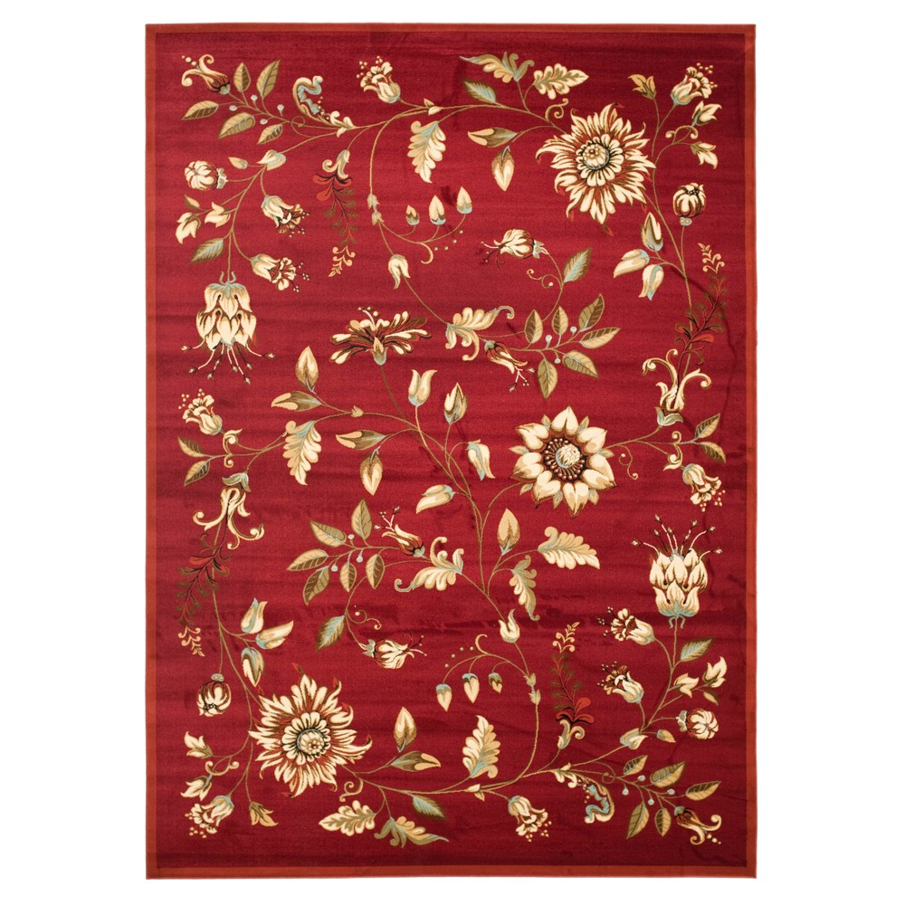 Red Floral Loomed Area Rug 6'7
