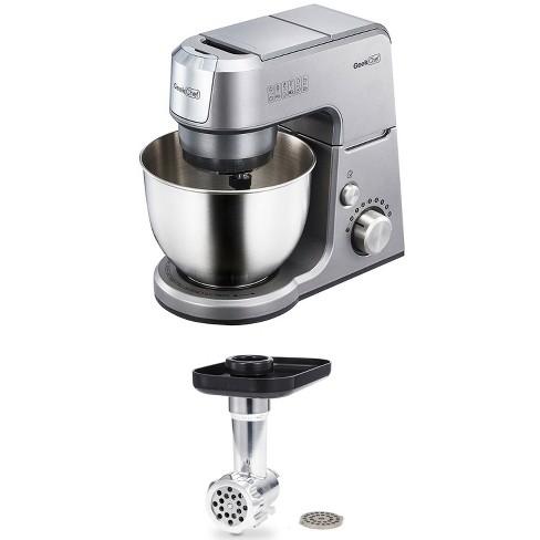 Geek Chef GM25S 2.6 Quart 7 Speed Tilt Head Stand Mixer, Silver Bundle with Mincer Meat Grinder - image 1 of 4