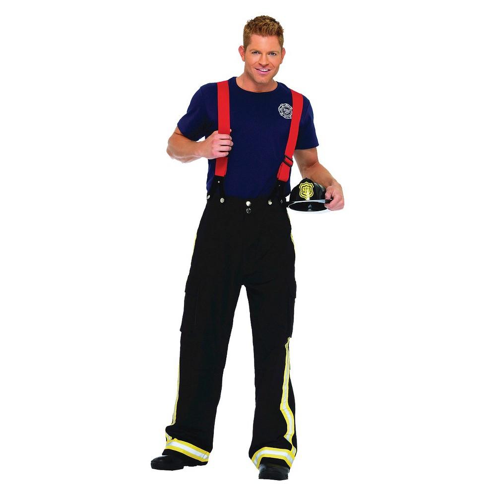 Image of Halloween Men's Fireman Costume - Medium/Large, Black