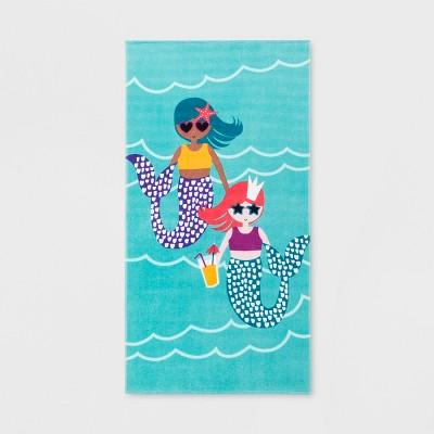 Mermaid Friends Beach Towel Turquoise - Sun Squad™