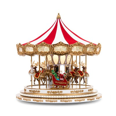 "Mr. Christmas Santa and Reindeers Regal Carousel Animated Musical Christmas Decoration - 16"""