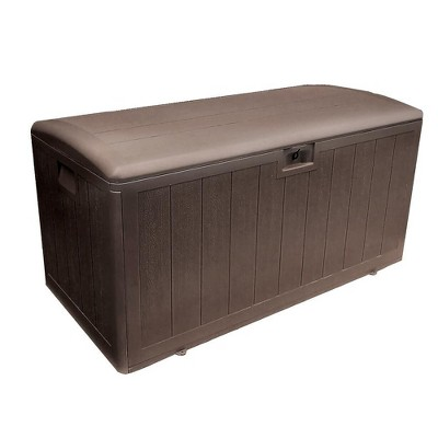 Plastic Development Group 105-Gallon Weather-Resistant Plastic Resin Outdoor Patio Storage Deck Box with Soft-Close Lid, Java Brown