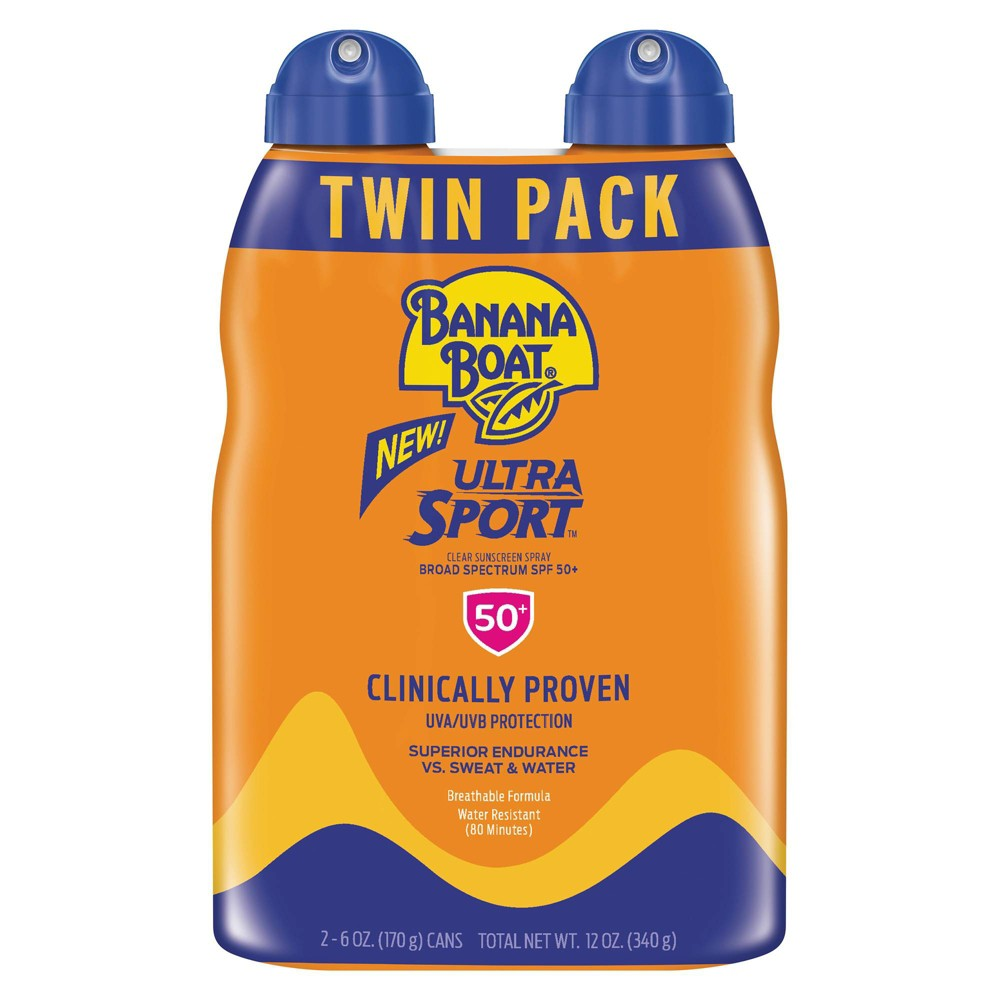 Image of Banana Boat Ultra Sport Clear Spray Broad Spectrum Sunscreen - SPF 50 - 6oz - Twin Pack