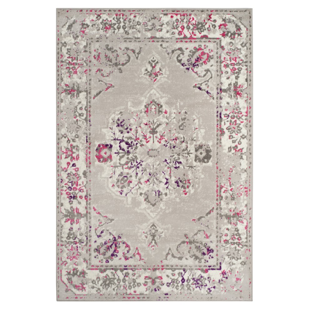 Gray/Pink Floral Loomed Area Rug 8'X10' - Safavieh