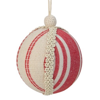 """Northlight 4.75"""" White and Red Striped Ball Christmas Ornament with Rope Accent"""