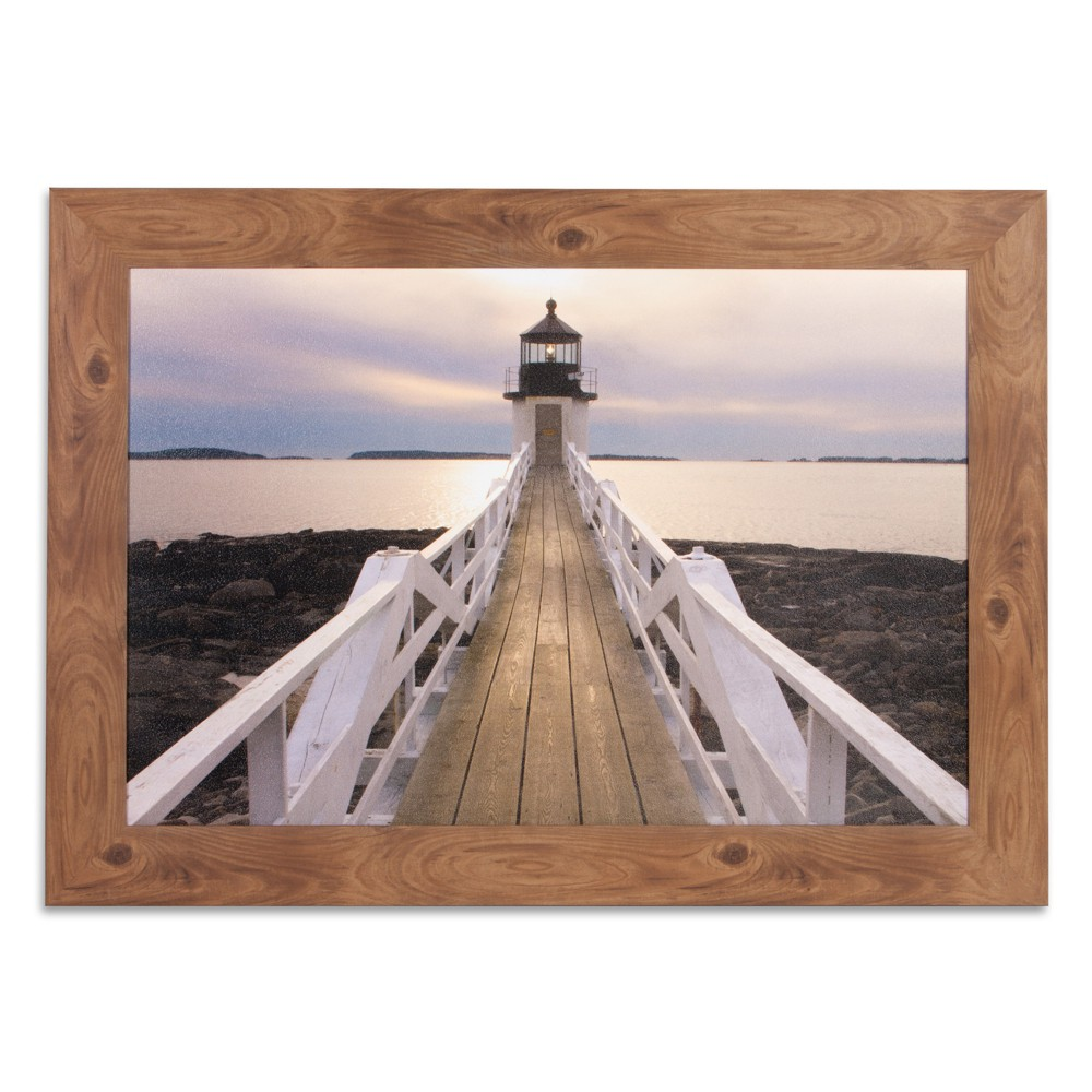 "Image of ""24""""x36"""" Marshall Point Lighthouse Photography Framed Canvas Art Brown - Patton Wall Decor"""