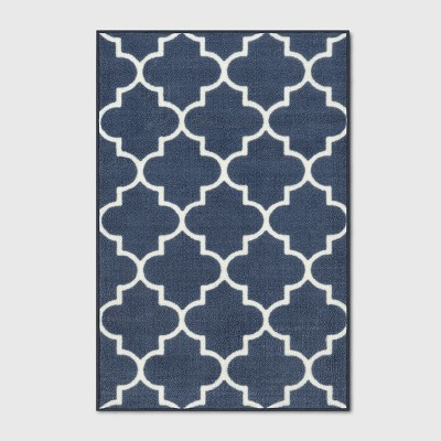 2'X3' Fretwork Design Tufted Accent Rugs Navy Blue - Threshold™