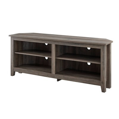 "Simple Open Storage Shelf Corner TV Stand for TVs up to 65"" - Saracina Home"
