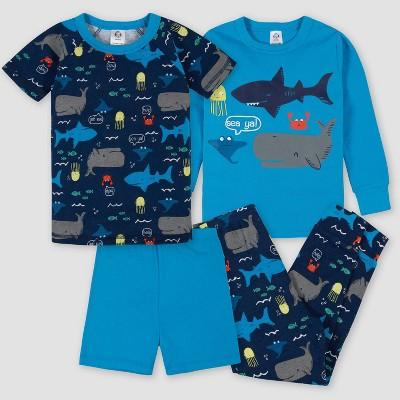 Gerber Toddler Boys' 4pc Whale and Shark Pajama Set - Blue