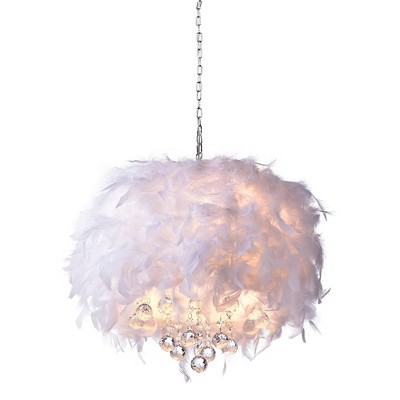 """15"""" x 15"""" x 30"""" Iglesias Fluffy Feathers and Crystal 3 Light Pendant White - Warehouse of Tiffany"""
