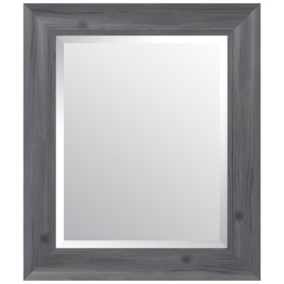 "16""x20"" Scoop Framed Beveled Wall Accent Mirror Gray - Gallery Solutions"