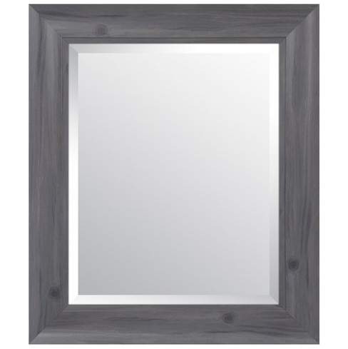 "16""x20"" Scoop Framed Beveled Wall Accent Mirror Gray - Gallery Solutions - image 1 of 6"