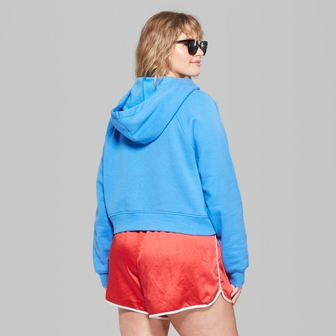 3cd1261acc403 Women s Plus Size Cropped Zip-Up Hoodie - Wild Fable™ Blue 1X   Target