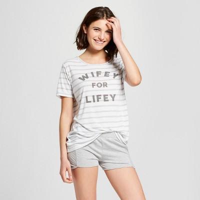Love & Cherish Women's Wifey For Lifey Bridal 2pc Pajama Set - White M