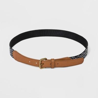 Women's Woven Belt - Universal Thread™ Black/White/Khaki