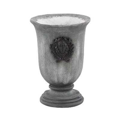 Traditional Resin Flower Pot Distressed Gray - Olivia & May
