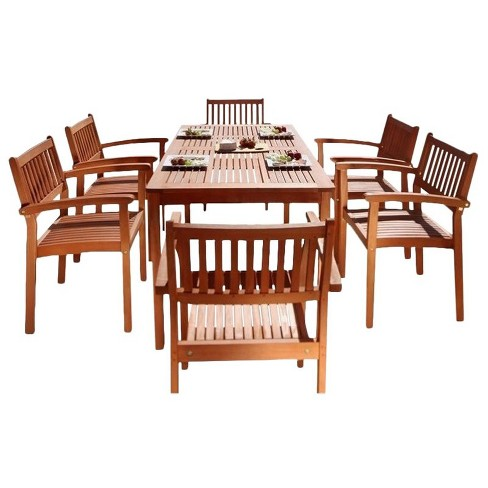 Wood 7 Piece Patio Dining Set in Oil Rubbed Brown-Pemberly Row - image 1 of 1
