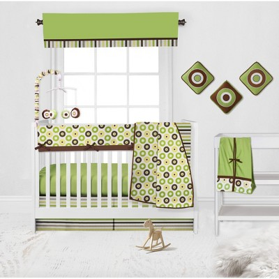 Bacati - Mod Dots Stripes Green Yellow Beige Brown 10 pc Crib Bedding Set with Long Rail Guard Cover
