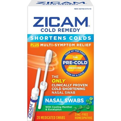 Zicam Cold Remedy Nasal Swabs - Cooling Menthol & Eucalyptus - 20ct