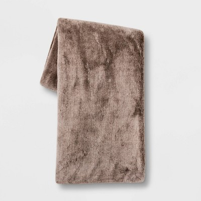"50""x60"" Faux Rabbit Fur Throw Blanket Brown - Threshold™"