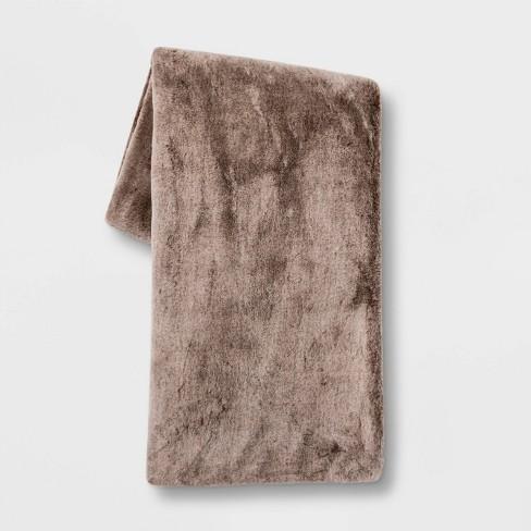 "50""x60"" Faux Rabbit Fur Throw Blanket - Threshold™ - image 1 of 4"