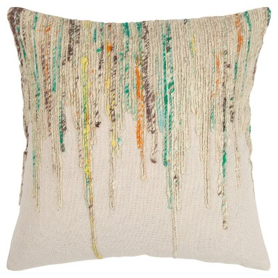 """20""""x20"""" Oversize Abstract Striped Square Throw Pillow Cover Green - Rizzy Home"""
