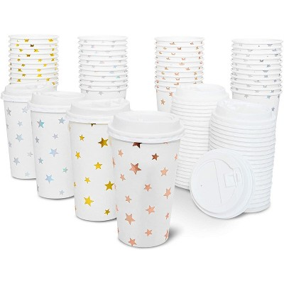 48-Pack Cute Foil Stars Insulated Disposable Coffee Cups with Lids, 16oz Paper Hot Cup to Go for Twinkle Little Star Baby Shower, Birthday, Events