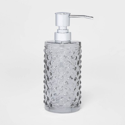 Hobnail Glass With Plastic Pump Soap/Lotion Dispenser Gray Tint - Opalhouse™