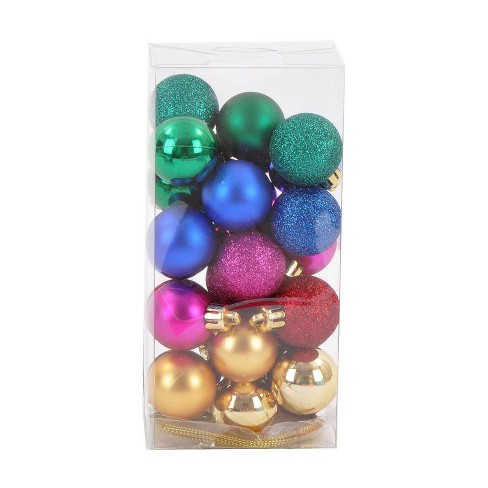 Mini Ball Plastic Christmas Ornament Set Berry/Dark Teal/Gold 25ct- Wondershop™ - image 1 of 2