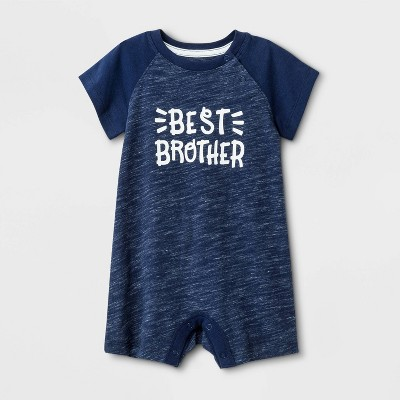 Baby Boys' Knit Raglan  Best Brother  Romper - Cat & Jack™ Blue Newborn