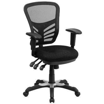 Swivel Task Chair with Triple Paddle Control Black Mesh - Flash Furniture