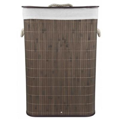 Home Basics Rectangular Bamboo Hamper, Brown