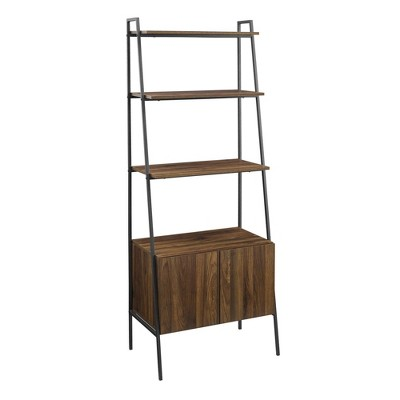 """72"""" Marie Open Shelf and Closed Storage Ladder Bookcase - Saracina Home"""