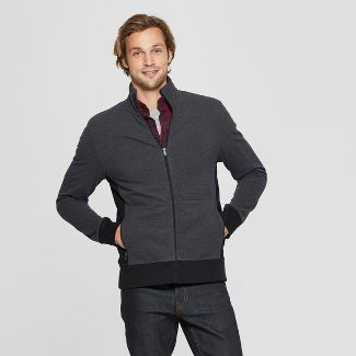 Men's Standard Fit Long Sleeve Track Jacket - Goodfellow & Co™ Deep Charcoal L