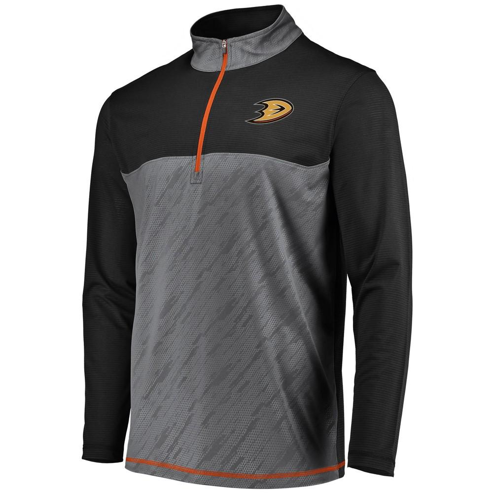 Anaheim Ducks Men's Striped Geo Fuse Gray/ Black 1/4 Zip Xxl