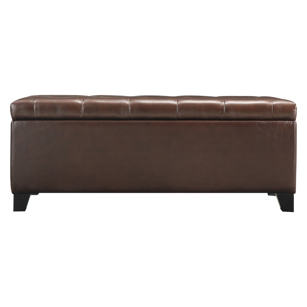Tufted Bench Storage Ottoman Brown - Handy Living
