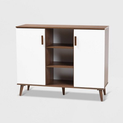 Quinn 2 Door Wood Dining Room Sideboard White/Walnut - Baxton Studio