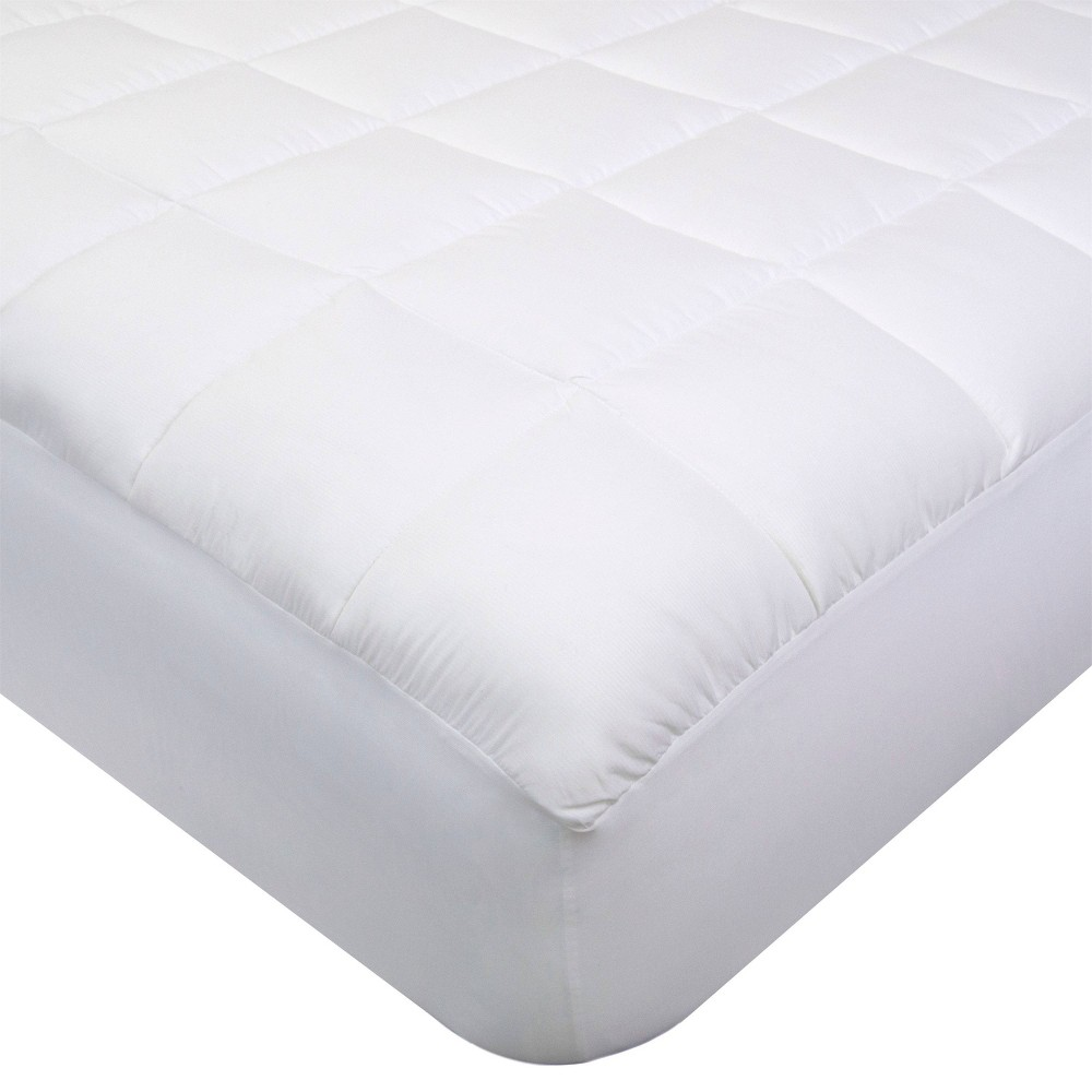 Image of California King Pinstripe Mattress Pad with NeverWet White - Perfect Fit