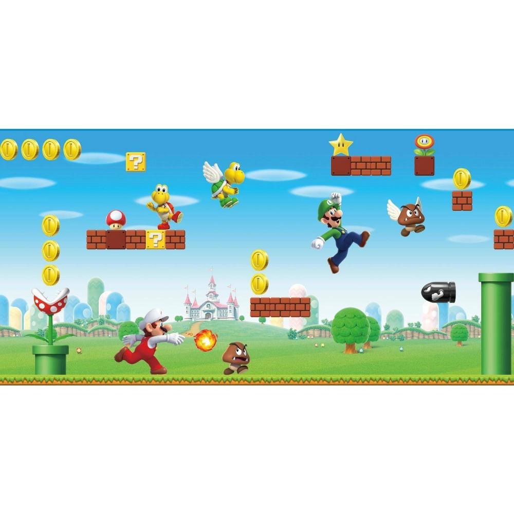 Image of Super Mario Scene Peel & Stick Wall Border - RoomMates