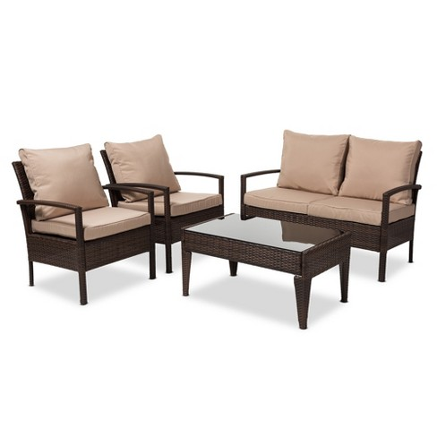 Empire Modern and Contemporary 4pc Wicker Outdoor Patio Set - Brown - Baxton Studio - image 1 of 4