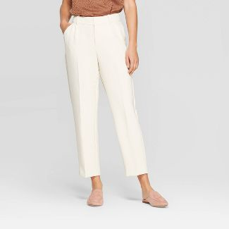 Women's Mid-Rise Regular Fit Pleated Pants - A New Day™ Cream 4