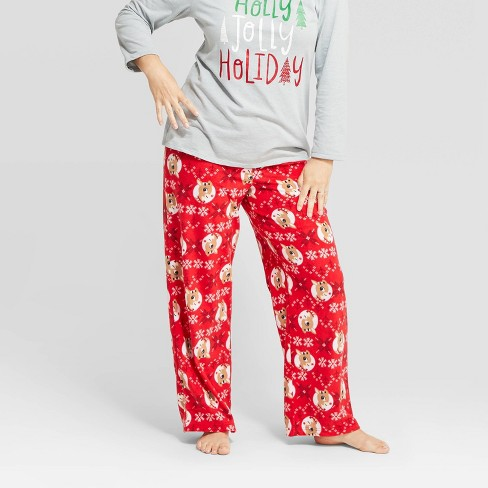 Women's Holiday Rudolph the Red-Nosed Reindeer Fleece Pajama Pants - Red - image 1 of 3