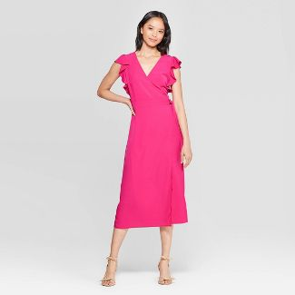 Women's Short Flutter Sleeve V-Neck A Line Midi Dress - Who What Wear™ L Pink
