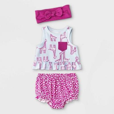 Baby Girls' 3pc Giraffe Top & Bottom Set with Headband - Cat & Jack™ Sky Blue Newborn