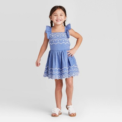 Toddler Girls' Chambray Woven Eyelet Dress - Cat & Jack™ Blue 4T