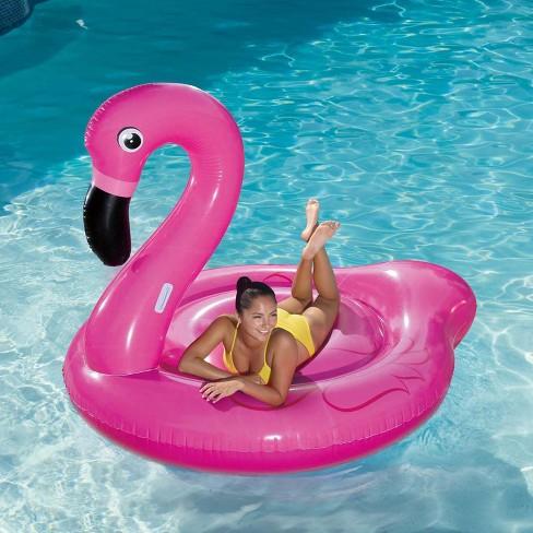 Summer Waves Jumbo Inflatable Pink Flamingo Ride-On Swimming Pool Float Raft