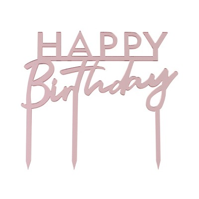 'Happy Birthday' Cake Candles Topper Pink