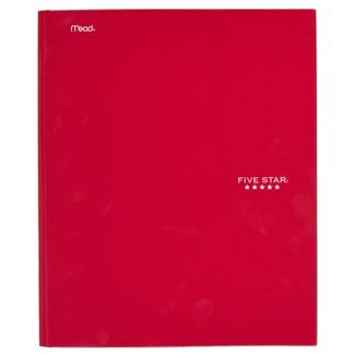 Five Star 2 Pocket Paper Folder with Prongs Red