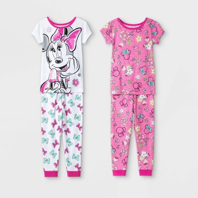 Toddler Girls' 4pc Minnie Mouse Snug Fit Pajama Set - Pink